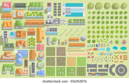Set of landscape elements. Green city and farm. (View from above) Trees, houses, buildings, road, solar panels, wind turbines, agricultural fields. (Top view)