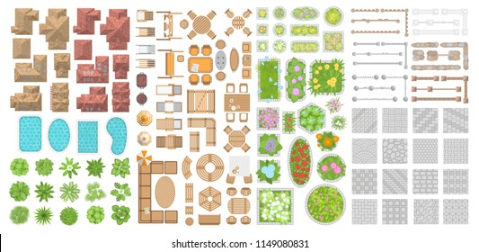 Set of landscape elements. Houses, architectural elements, plants. Top view. Trees, flower beds, roofs, swimming pools, pavement, fences, furniture. View from above.