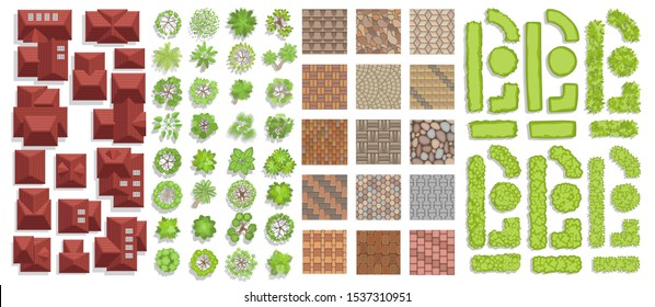 Set of landscape elements. Houses, architectural elements, plants. Top view. Trees, tile roof, pavement, green fence. View from above.