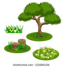 Set of landscape elements for summer forest or garden scene design. Tree, flowers in grass, chamomiles, stubs. Tile set for cartoon or video game asset. Vector illustration