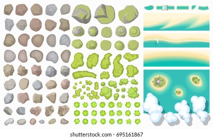 Set of landscape elements. (Top view) Mountains, hills, rocks, stones, trees, plants, beach, island, clouds. (View from above)