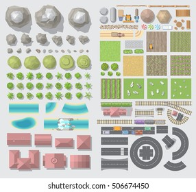 Set of landscape elements. Village. (Top view)  Farm. (View from above)
