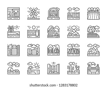 Set of landscape, farm and megapolis line icons. Bridge, desert, waterfall, mountains, beach, forest, city, town, garden, volcano, farming fields, house, windmill and more.