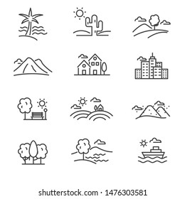 Set of landscape related vector icon line design such as beach, desert, mountain and more, suitable for illustration or doodle too.