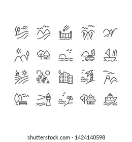 Set of Landscape Related Vector Line Icons. Contains such Icons as Farm, Megapolis, Desert and more. Editable Stroke.