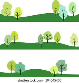 set of landscape with trees , vector illustration