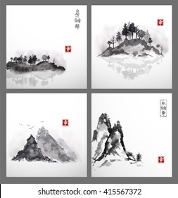 Set of landscapes with islands and mountains in fog hand drawn with ink. Traditional Japanese ink painting sumi-e. Contains hieroglyphs - eternity, freedom, happiness