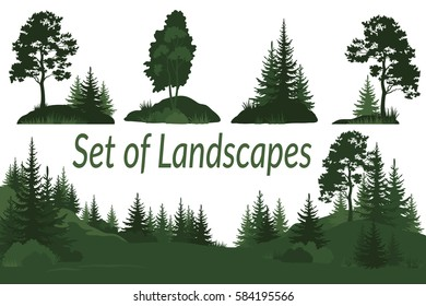Set Landscapes, Isolated on White Background Green Silhouettes Coniferous and Deciduous Trees and Grass. Vector.