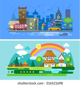 Set of landscapes. Rainy autumn day in the city, street with houses, cars and people with umbrella. Rainbow after the rain in the countryside, mountains and fields. Vector flat Illustrations