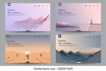 A set of landscapes. Templates of web pages in in a minimalist style