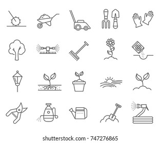 Set of landscaping Related Vector Line Icons. Includes such Icons as plants, horticulture, lawn, trees, gardening and more.