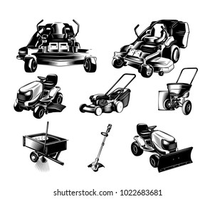 Set of landscaping tools on white background. Design elements for logo, label, emblem, sign. Vector illustration