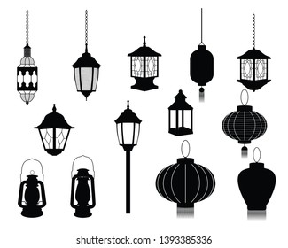 Set of Lanterns silhouettes vector icon. Japanese, Chinese. Arabic. European.