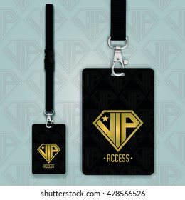Set of lanyard and badge. Design example vip pass. Template vector illustration. Seamless background pattern VIP letters.