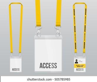 Set Lanyard Badge Metal Piece Plastic Stock Vector HD (Royalty Free ...