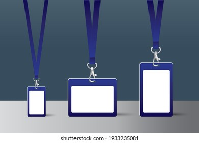 Set of lanyard and badge. Metal piece. Template for presentation of their design. vector illustration.