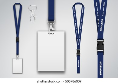 Set of lanyard and badge. Metal piece. Template for presentation of their design. realistic vector illustration.