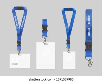 Set of lanyard with badge. Vector illustration. Ready realistic lanyard for any background. EPS10.