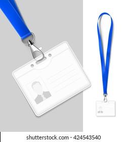 Set of lanyard with badge. Vector illustration. Ready realistic lanyard for any background