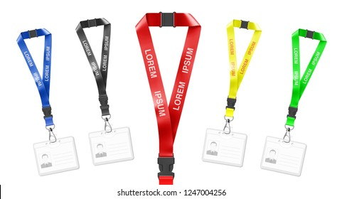 Set of lanyards with id card. Vector illustration isolated on white background. Ready mockup to use for for presentations, conferences and other business situations. EPS10.