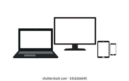 Set of laptop, computer monitor, tablet and mobile phone with blank screen isolated on white background