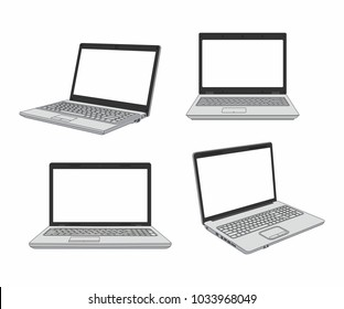 set of laptop in different angles. isolated on white background