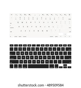 Set of laptop keyboards in different colours isolated on white