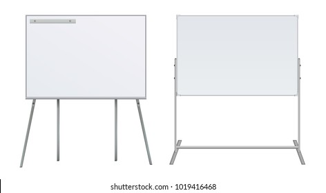 Set Large Flip chart blank on tripod over white background. Whiteboard For Business Training in office. Isolated Illustration EPS 10 Board Banner Stand 3d rendering for promotional presentation