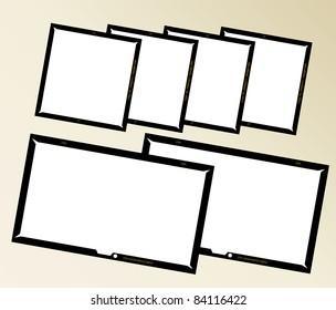 set of  large format negatives, photo frames,vector