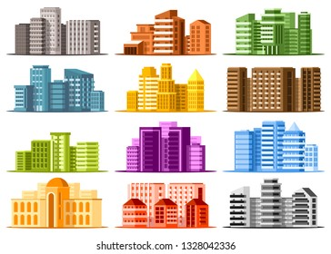 Set of large modern buildings. Business center buildings. Urban cityscapes