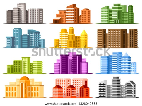 Set Large Modern Buildings Business Center Stock Vector (Royalty ...