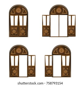 Set of large wooden doors in antique style