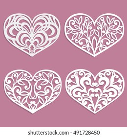 Set of laser cut hearts. Template for interior design, layouts wedding cards, invitations. Vector floral heart.