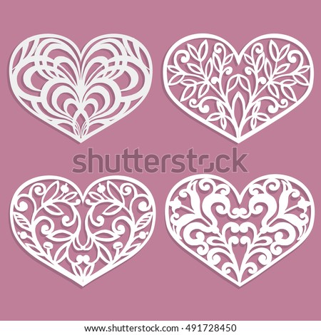 set laser cut hearts template interior stock vector royalty free