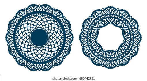 Set of laser cut paper lace medallions. Ornamental cutout mandala. Abstract vintage doily. Round element design for wedding invitation and greeting card. Mehndi ornament. Vector illustration.