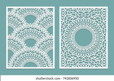 Set of Laser cut pattern template. Wood or paper screen lazer cut panel. Wall vinyl art decor. Abstract layout for cutout panels. Vector illustration