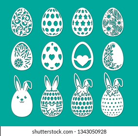 Set of laser cut template. Decorative eggs with bow, flower, ears of bunny; rabbit. Vector sample elements. Happy Easter egg hunt. Silhouette illustration for paper cut isolated on green background.