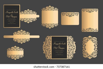 Set of laser cut template. Wedding cards, invitation, menu, bellyband, RSVP. Openwork lace templates for plotter cutting, paper cut and wood carving.