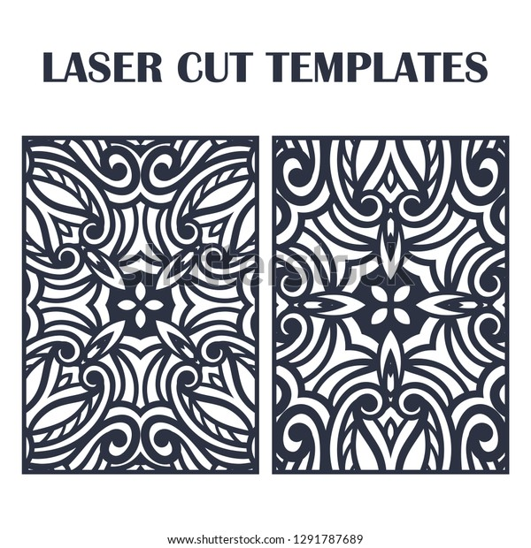 Set Laser Cut Templates Decorative Lasercutting Stock Vector