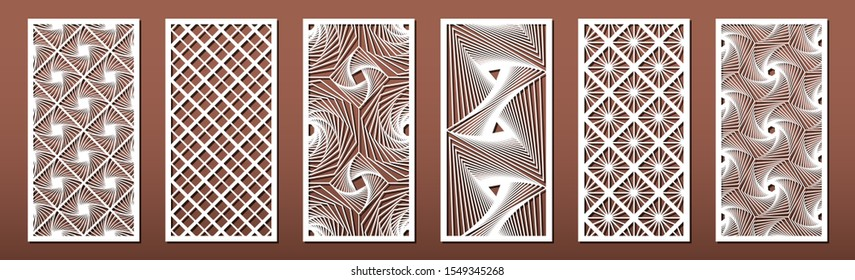 Set of laser cut templates with geometric pattern.  For metal cutting, wood carving  Vector illustration