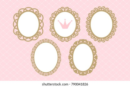Set of laser cut vector oval frames. Templates can be used for decoration invite party ( wedding, baby shower, birthday) card. Vintage royal gold elements of design. Borders for laser cutting. Girlish