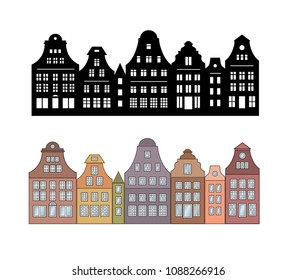 Set of laser cutting Amsterdam style houses. Silhouette of row of typical Netherlands canal view. Stylized dutch colorful facade of old buildings. Wood carving vector template. Background for banner.