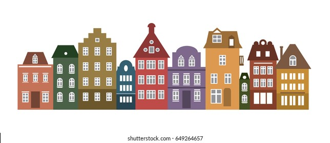 Set of laser cutting Amsterdam style colored houses. Colorful of a row of typical dutch view at Netherlands. Stylized facades of old buildings. Wood carving vector template. Background for banner.