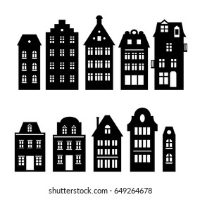 Set of laser cutting Amsterdam style houses. Silhouette of a row of typical dutch view at Netherlands. Stylized facades of old buildings. Wood carving vector template. Background for banner, card.