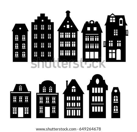 Set Laser Cutting Amsterdam Style Houses เวกเตอร์สต็อก (ปลอด