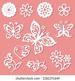 Set laser cutting template. Flowers, leaves and butterflies for the lace decoration