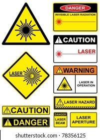 Set laser hazard warning signs.