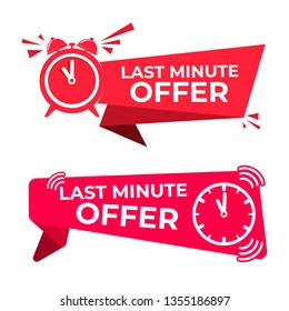 Set of last minute offer button sign. Red flat modern label, alarm clock countdown logo. Vector illustration. Isolated on white background.
