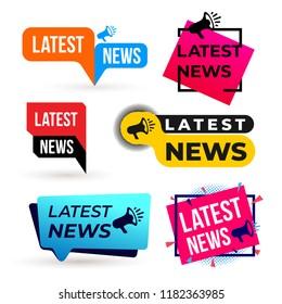 Set of Latest news megaphone colorful label . Vector illustration. Isolated on white background.