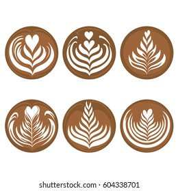 Set of latte art coffee vector